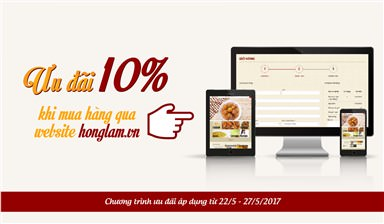 Hồng Lam giảm giá 10% khi đặt hàng trên website từ ngày 22/05/2017 đến 27/05/2017